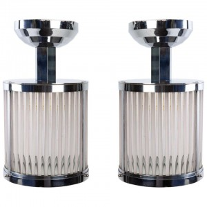 Series of 2-4 or 6 Lanterns, 1940's Chrome Metal Hanging Lanterns and Matte and Shiny Glass Rods.