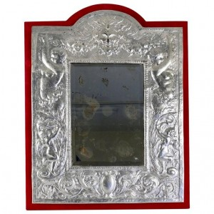 Mirror, XIXth century, silver-plated silver leaf