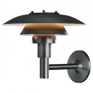 Louis Poulsen, Outdoor Wall Lamp in Black by Poul Henningsen