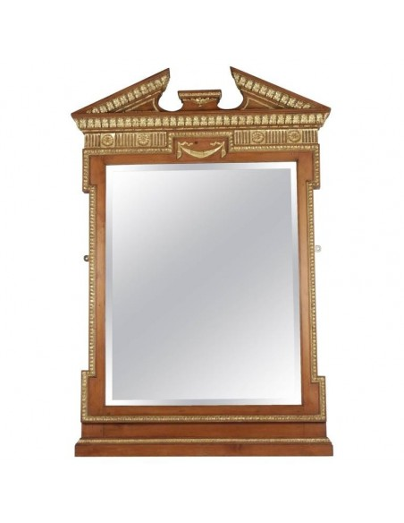 Neoclassical gilded wood and stucco mirror, Charles X style antique